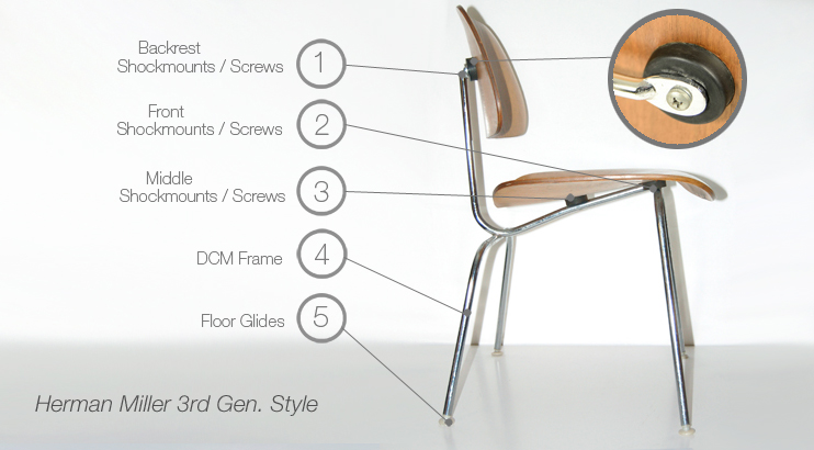 Eames 3rd Generation Plywood Dcm Lcm Chair Parts