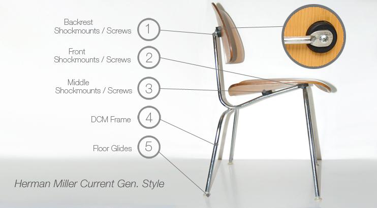 Eames current generation plywood dcm lcm chair parts