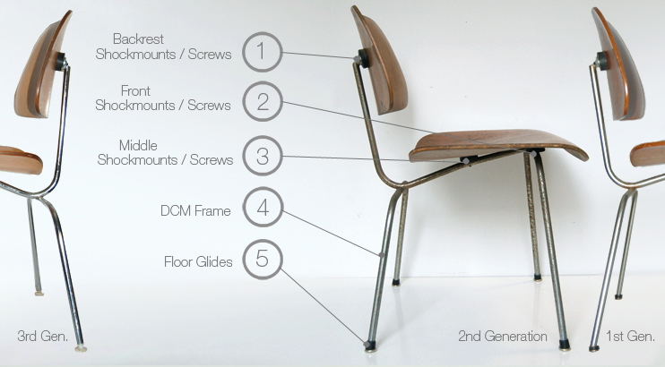 Eames plywood dcm lcm chair parts