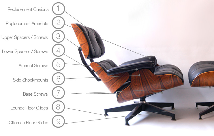 eames lounge and ottoman 670 671 parts