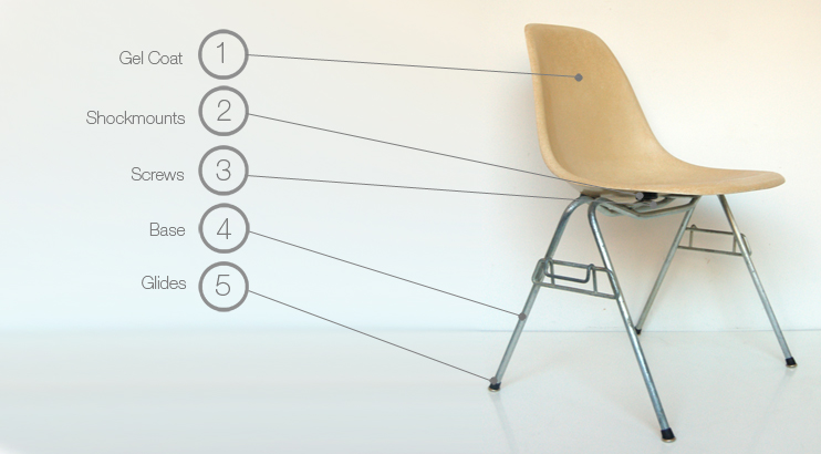 Eames scholastic stacking chair parts
